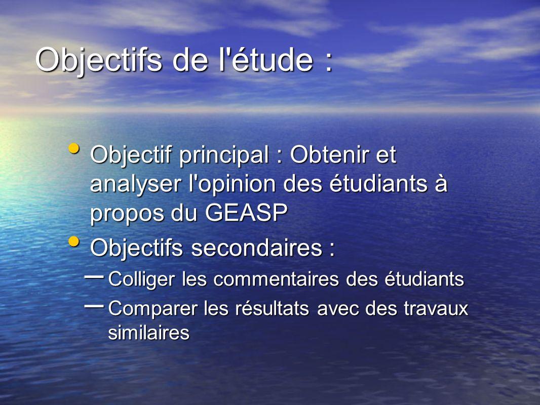 Objectifs de l étude : Objectif principal : Obtenir et analyser l opinion des étudiants à propos du GEASP.