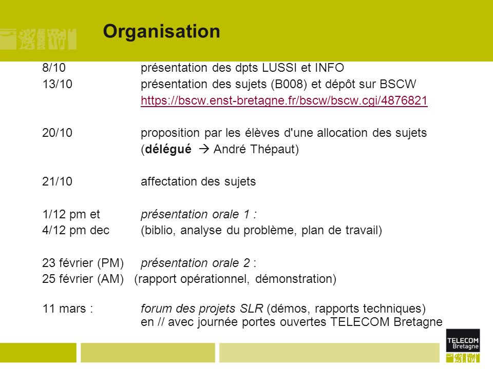 Organisation 8/10 présentation des dpts LUSSI et INFO