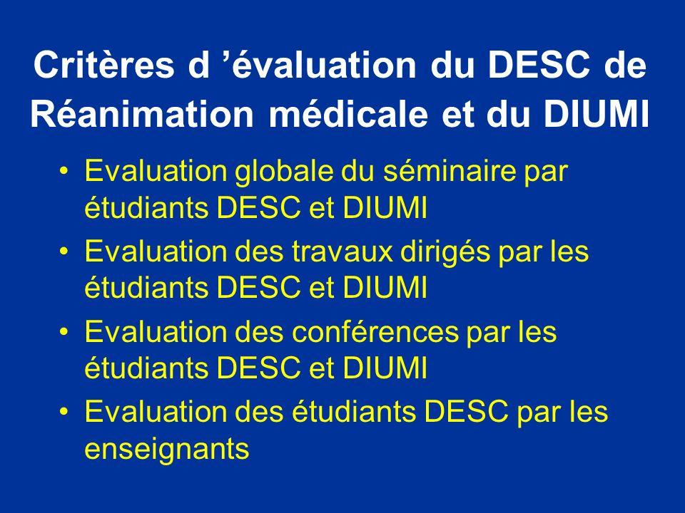 Critères d 'évaluation du DESC de Réanimation médicale et du DIUMI