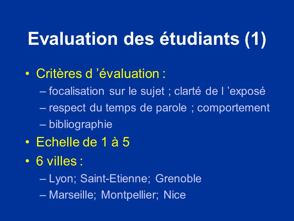 Evaluation des étudiants (1)