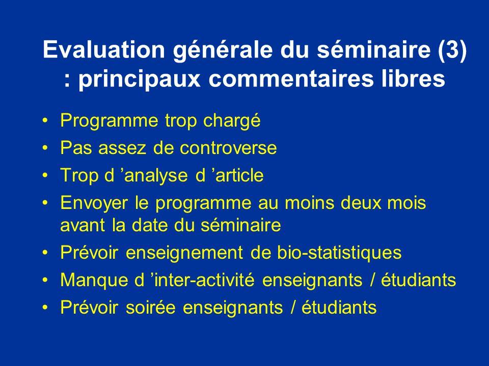 Evaluation générale du séminaire (3) : principaux commentaires libres