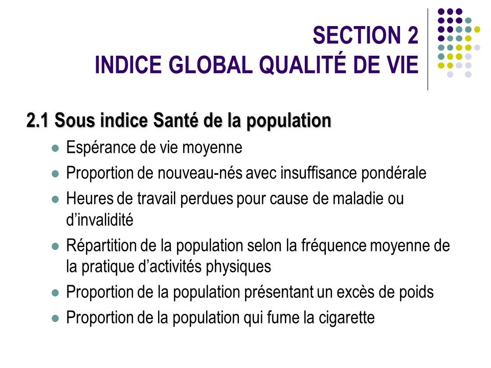 SECTION 2 INDICE GLOBAL QUALITÉ DE VIE