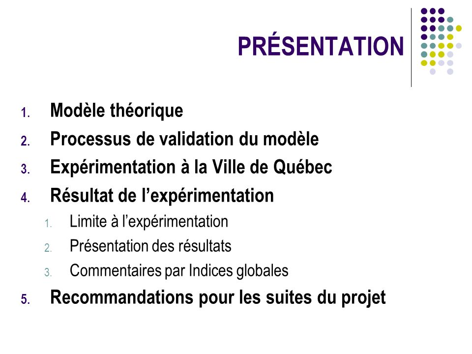 PRÉSENTATION Modèle théorique Processus de validation du modèle
