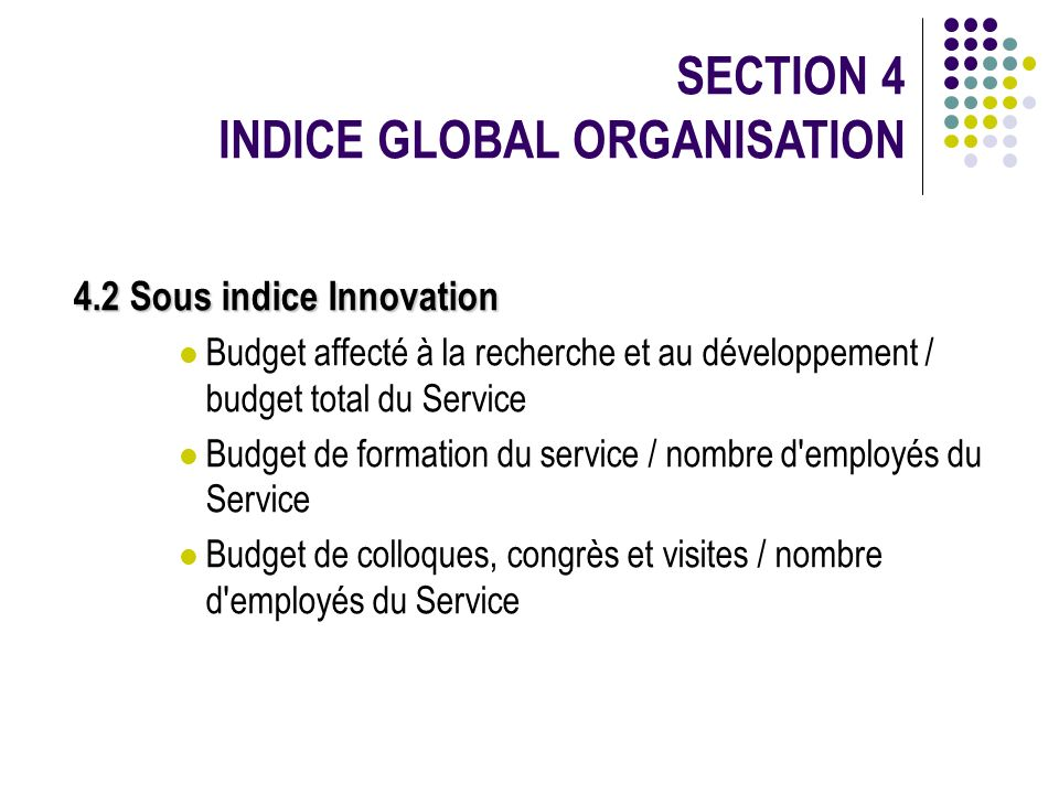 SECTION 4 INDICE GLOBAL ORGANISATION