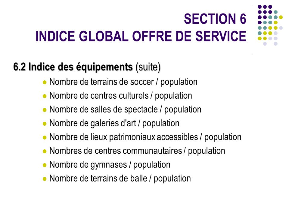 SECTION 6 INDICE GLOBAL OFFRE DE SERVICE