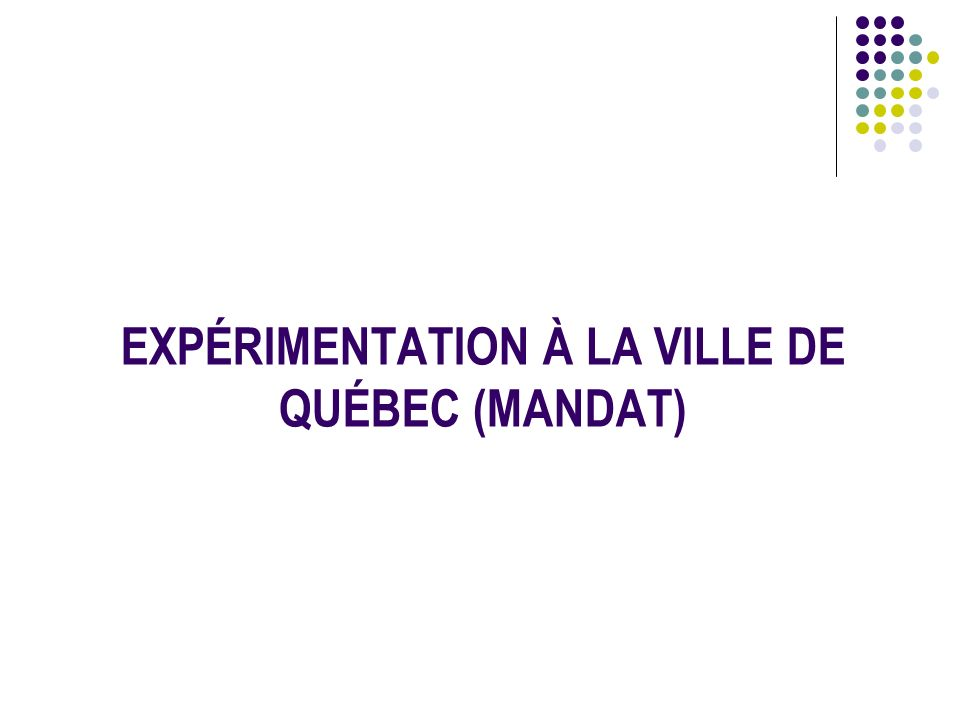 EXPÉRIMENTATION À LA VILLE DE QUÉBEC (MANDAT)