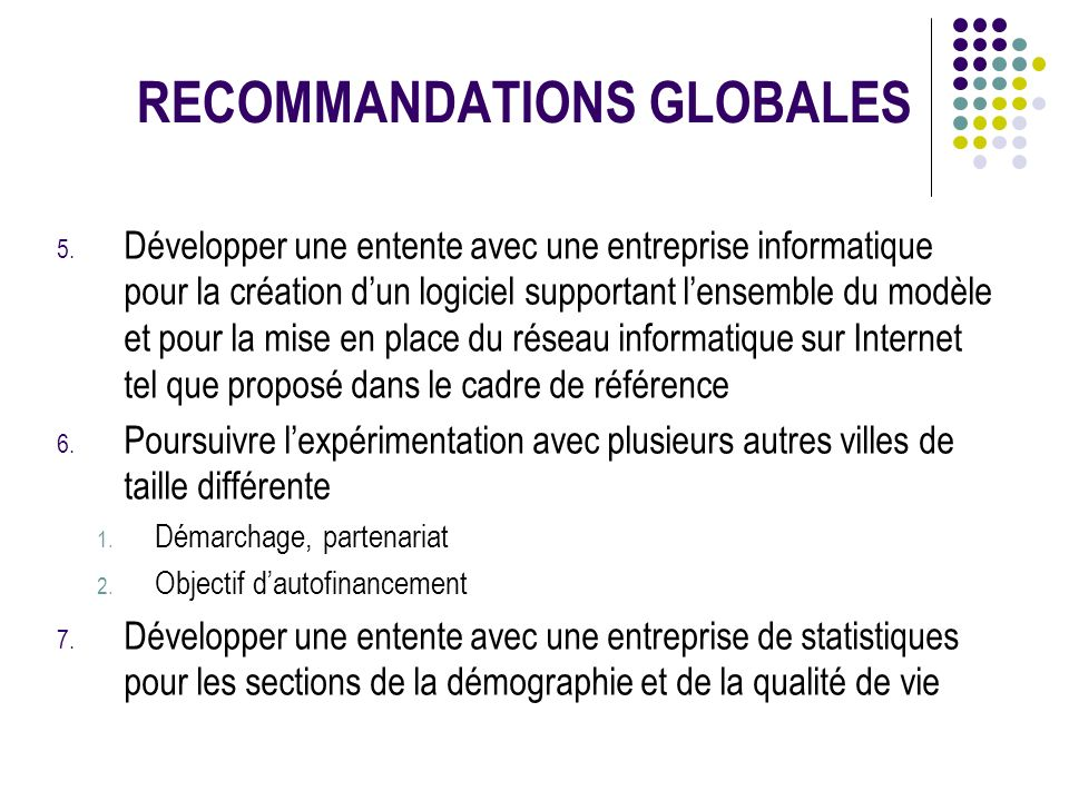 RECOMMANDATIONS GLOBALES