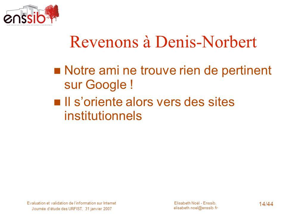 Revenons à Denis-Norbert