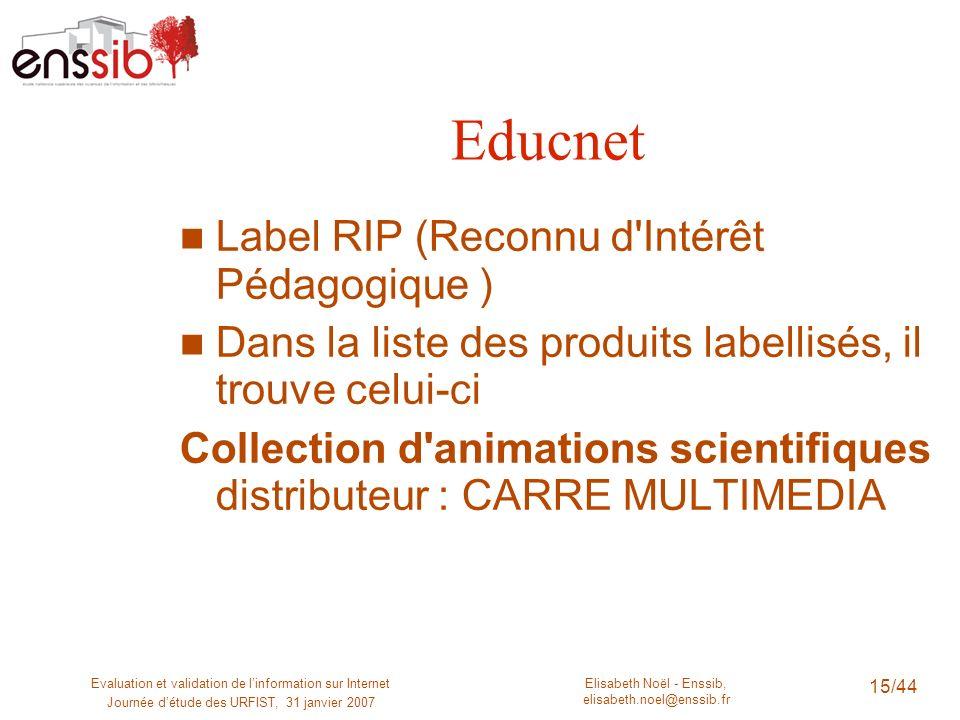 Educnet Label RIP (Reconnu d Intérêt Pédagogique )