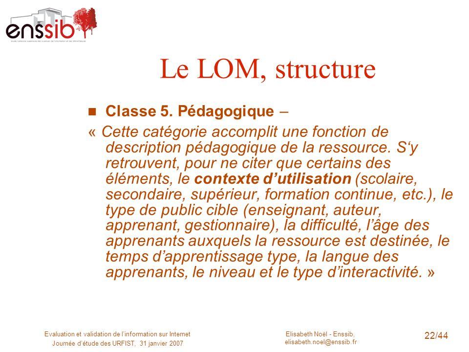 Le LOM, structure Classe 5. Pédagogique –