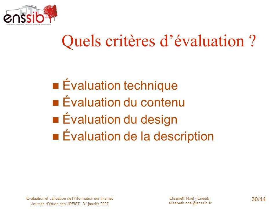 Quels critères d'évaluation