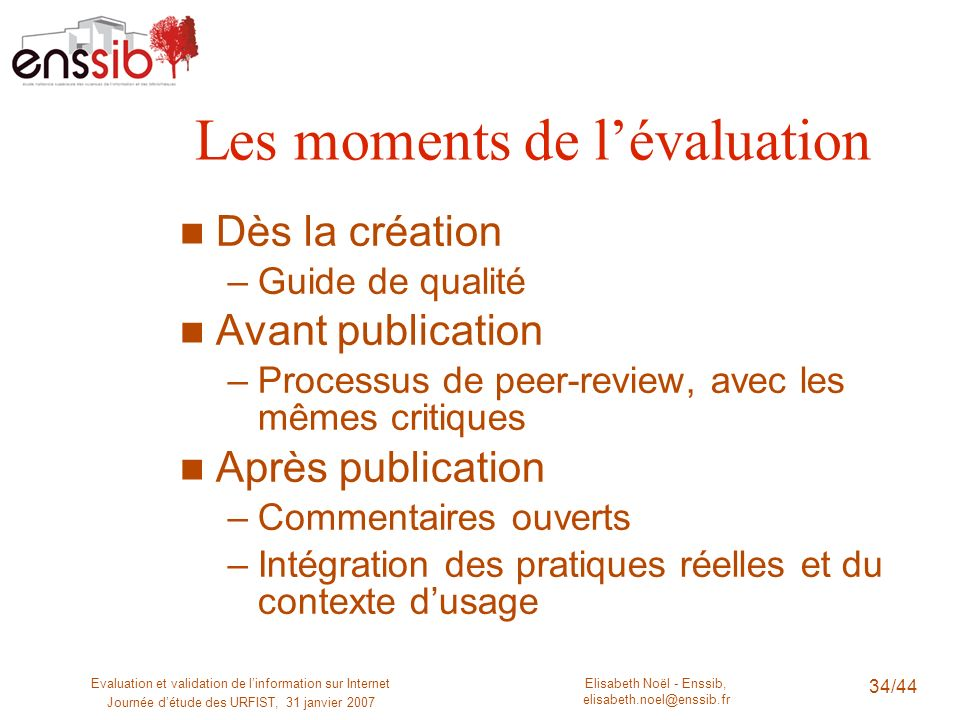 Les moments de l'évaluation