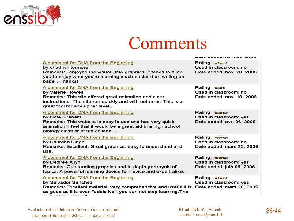 Comments Evaluation et validation de l'information sur Internet