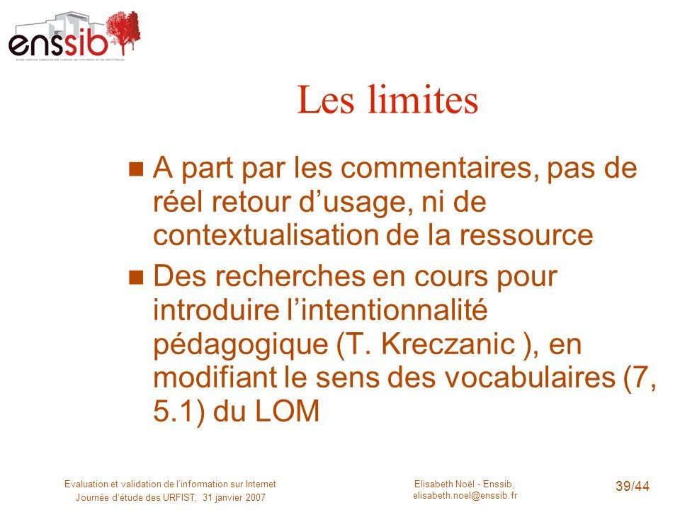 Les limites A part par les commentaires, pas de réel retour d'usage, ni de contextualisation de la ressource.