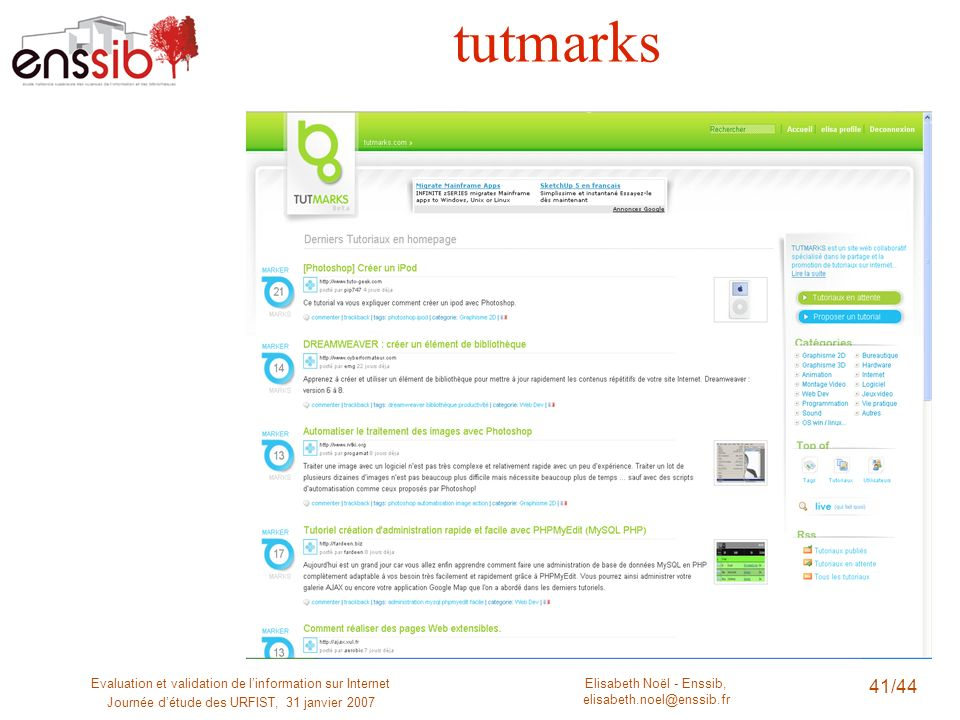 tutmarks Evaluation et validation de l'information sur Internet