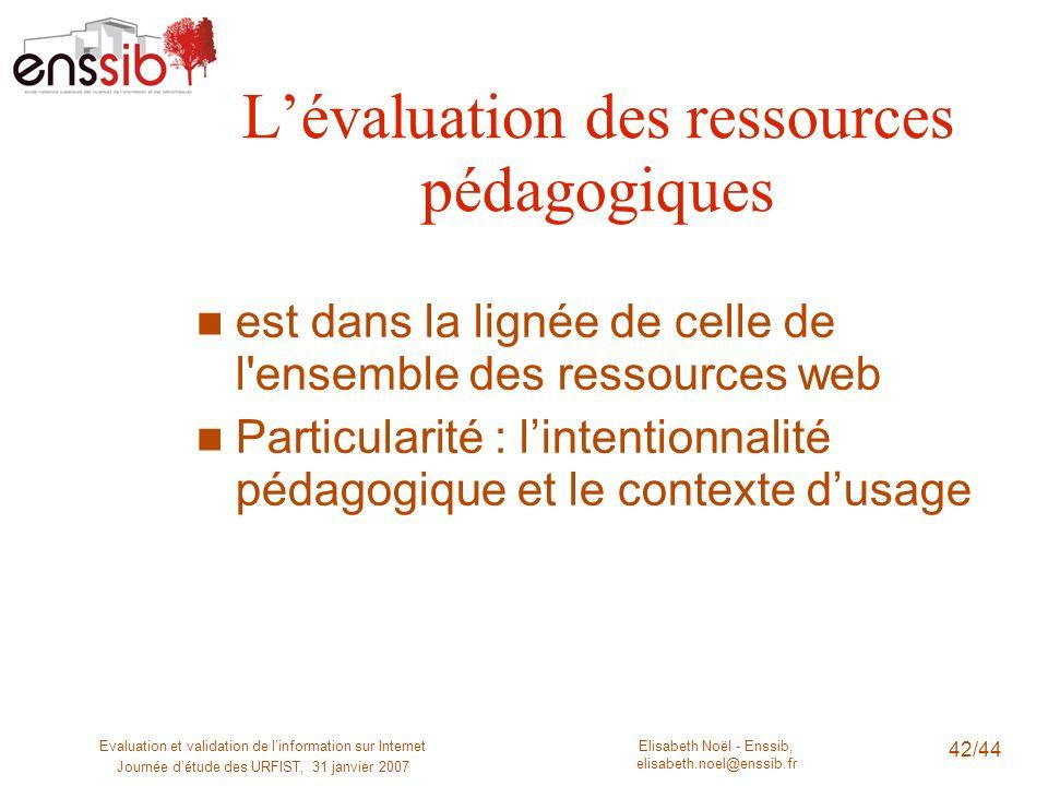 L'évaluation des ressources pédagogiques