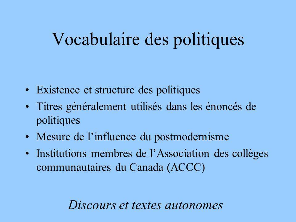 Vocabulaire des politiques