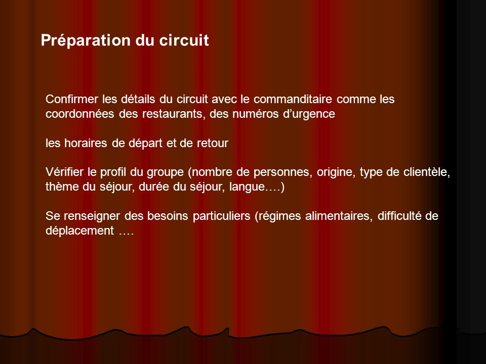 Préparation du circuit