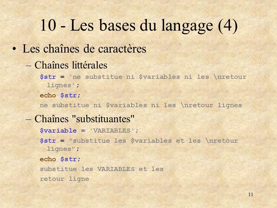 10 - Les bases du langage (4)