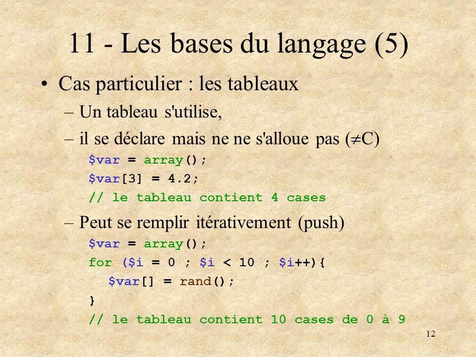 11 - Les bases du langage (5)