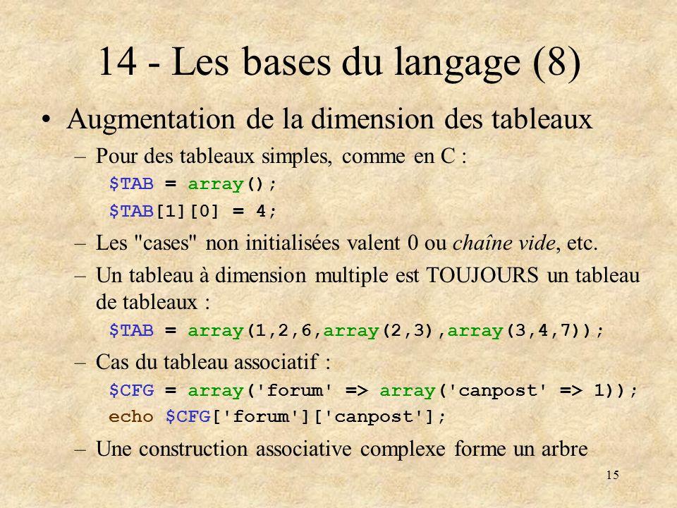 14 - Les bases du langage (8)