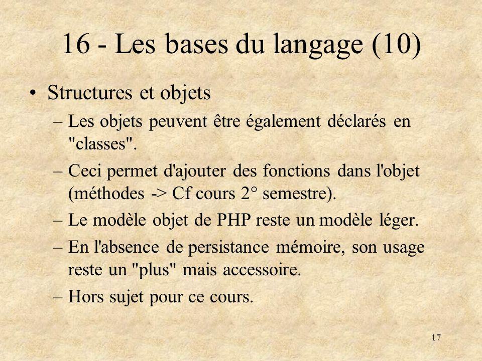 16 - Les bases du langage (10)