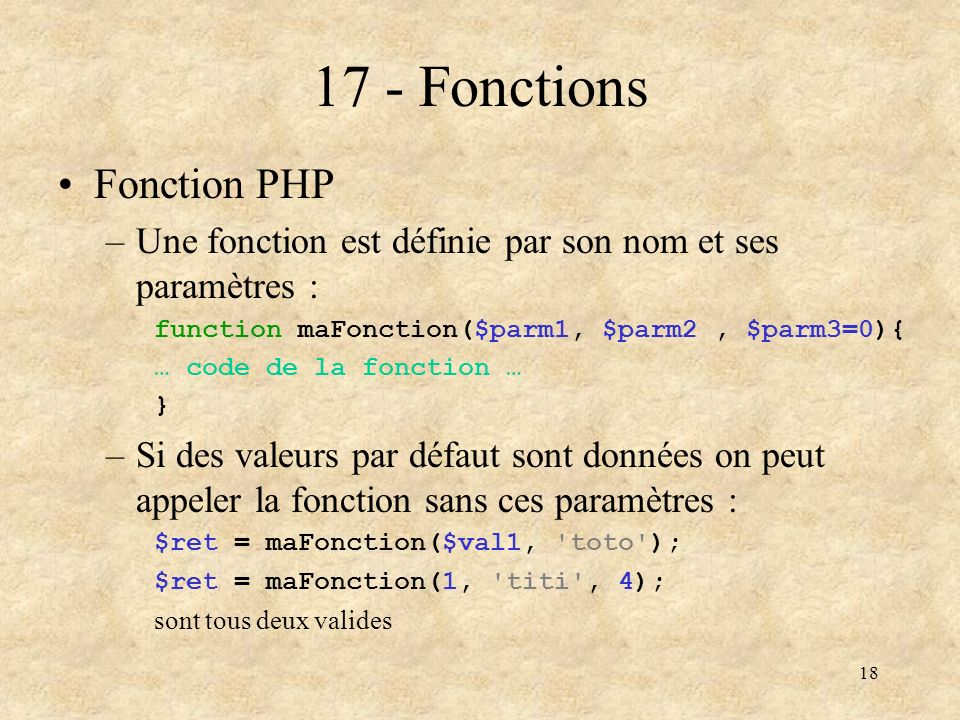 17 - Fonctions Fonction PHP