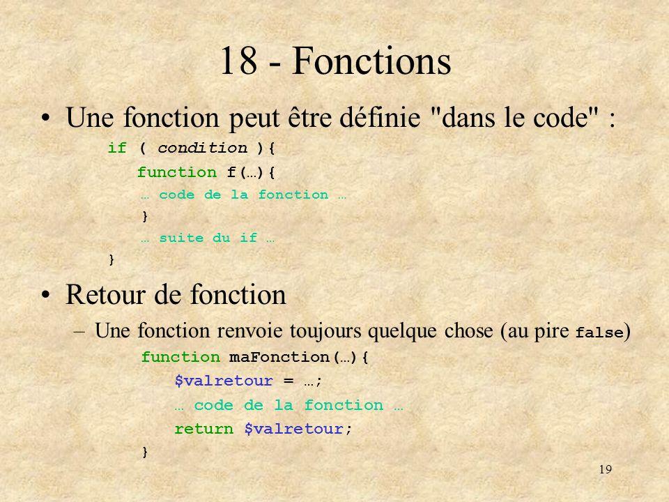18 - Fonctions Une fonction peut être définie dans le code :