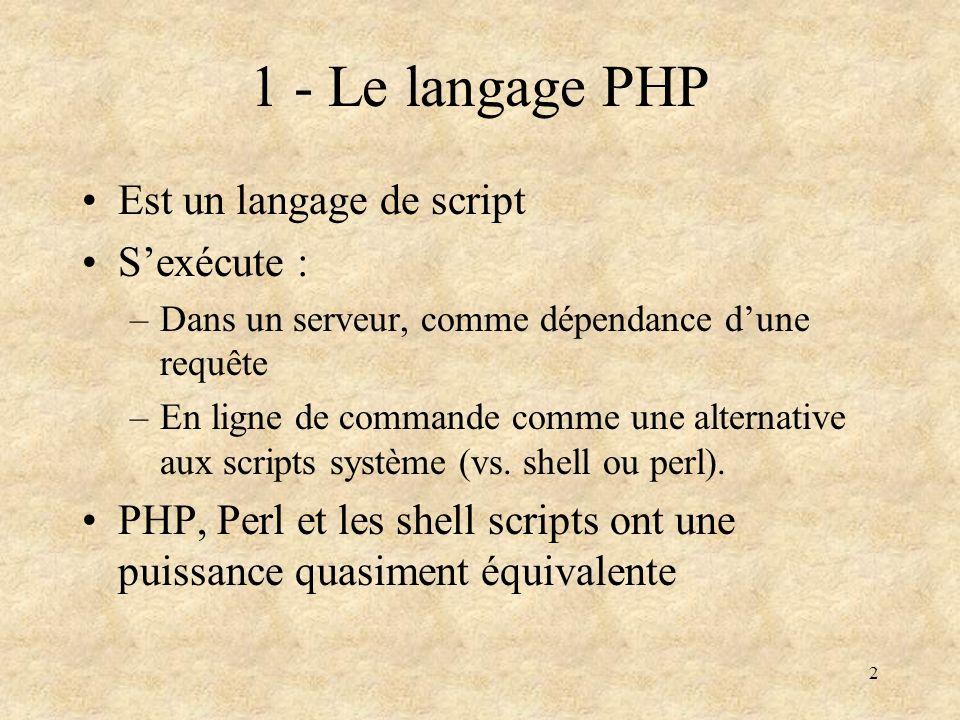 1 - Le langage PHP Est un langage de script S'exécute :
