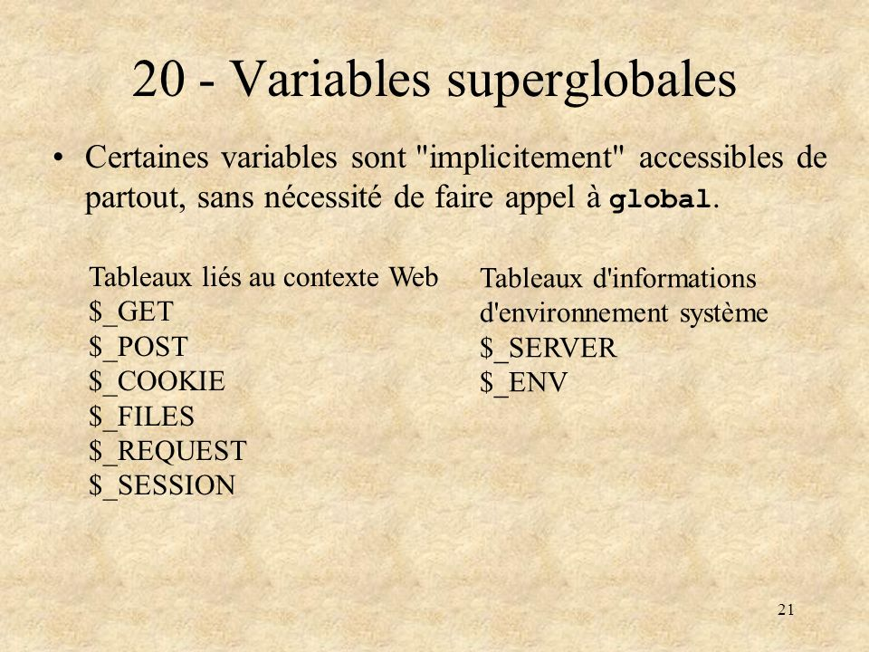 20 - Variables superglobales