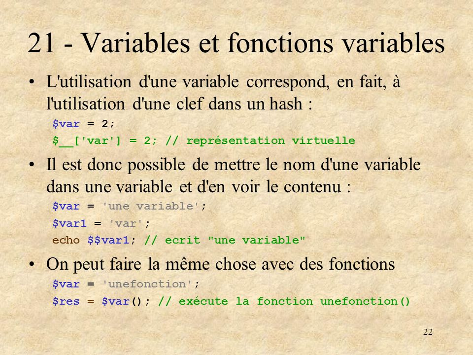 21 - Variables et fonctions variables