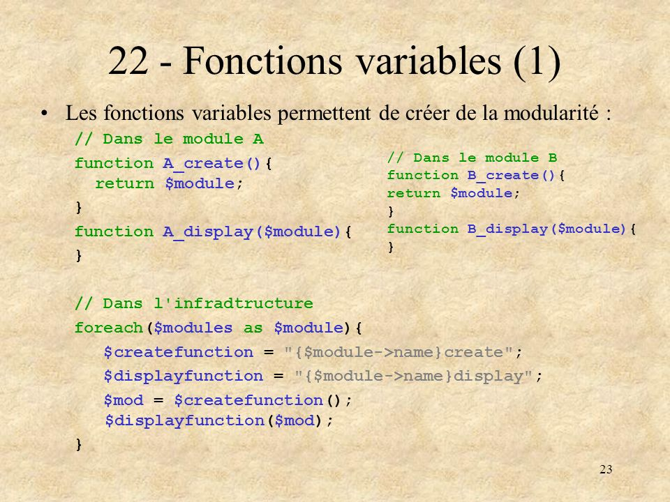 22 - Fonctions variables (1)
