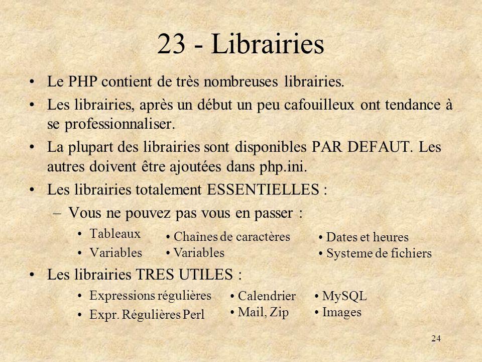 23 - Librairies Le PHP contient de très nombreuses librairies.