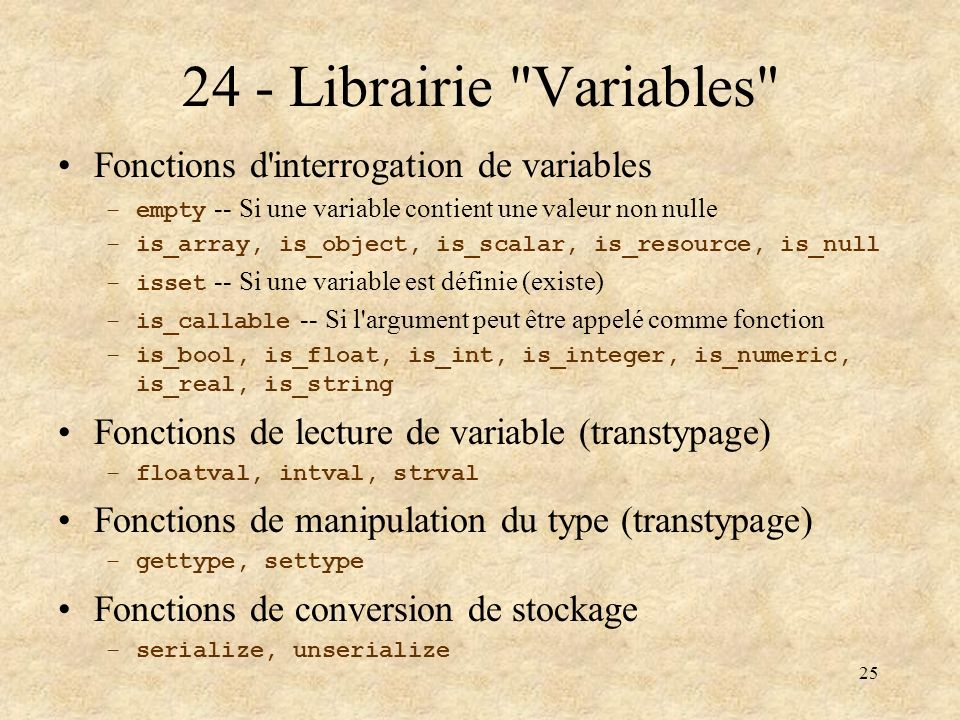 24 - Librairie Variables Fonctions d interrogation de variables