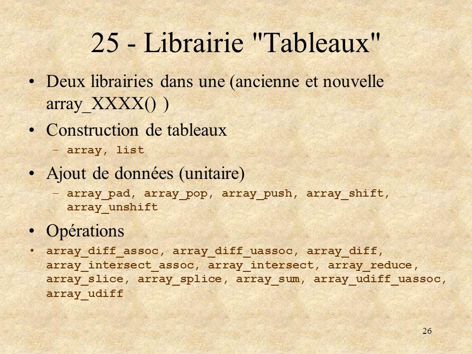 25 - Librairie Tableaux Deux librairies dans une (ancienne et nouvelle array_XXXX() ) Construction de tableaux.