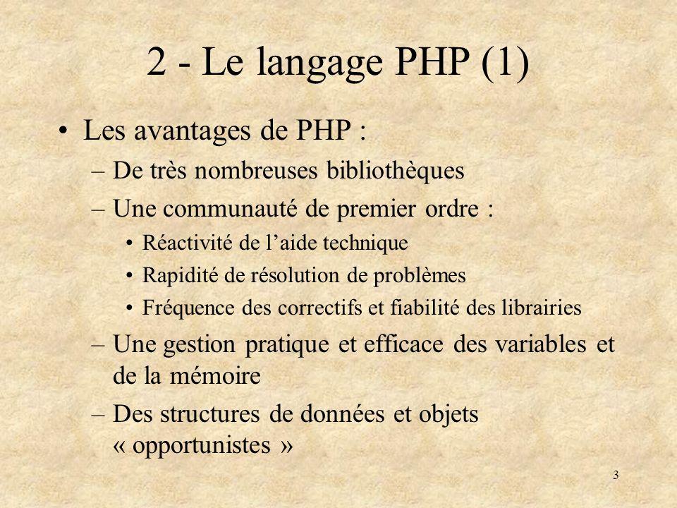 2 - Le langage PHP (1) Les avantages de PHP :