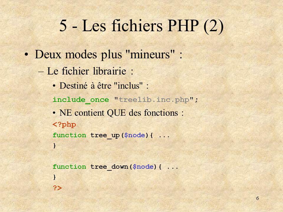 5 - Les fichiers PHP (2) Deux modes plus mineurs :