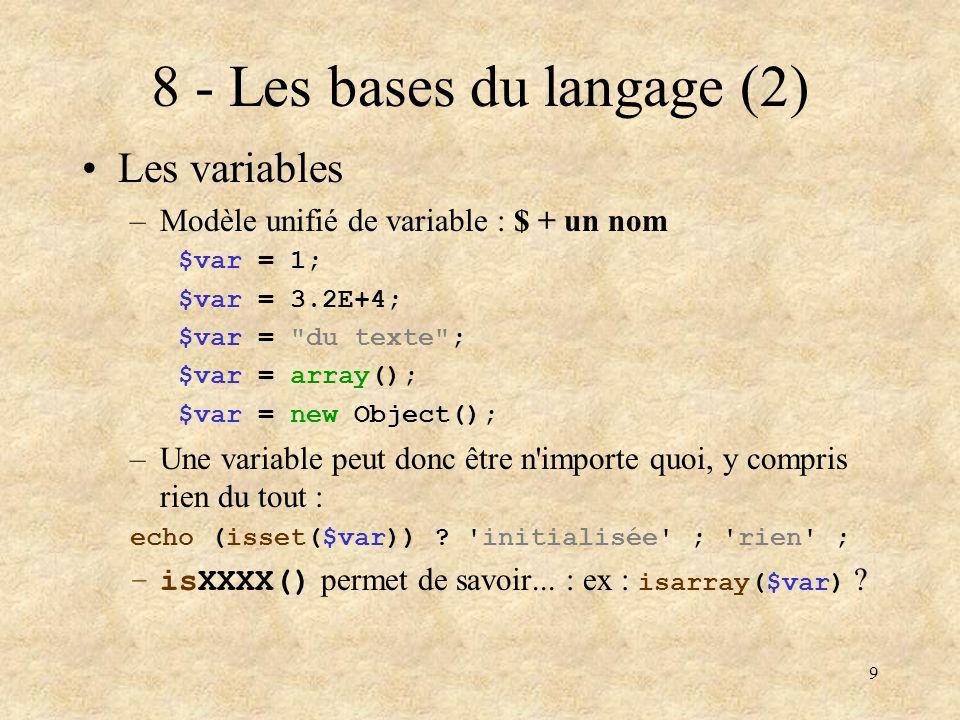 8 - Les bases du langage (2)