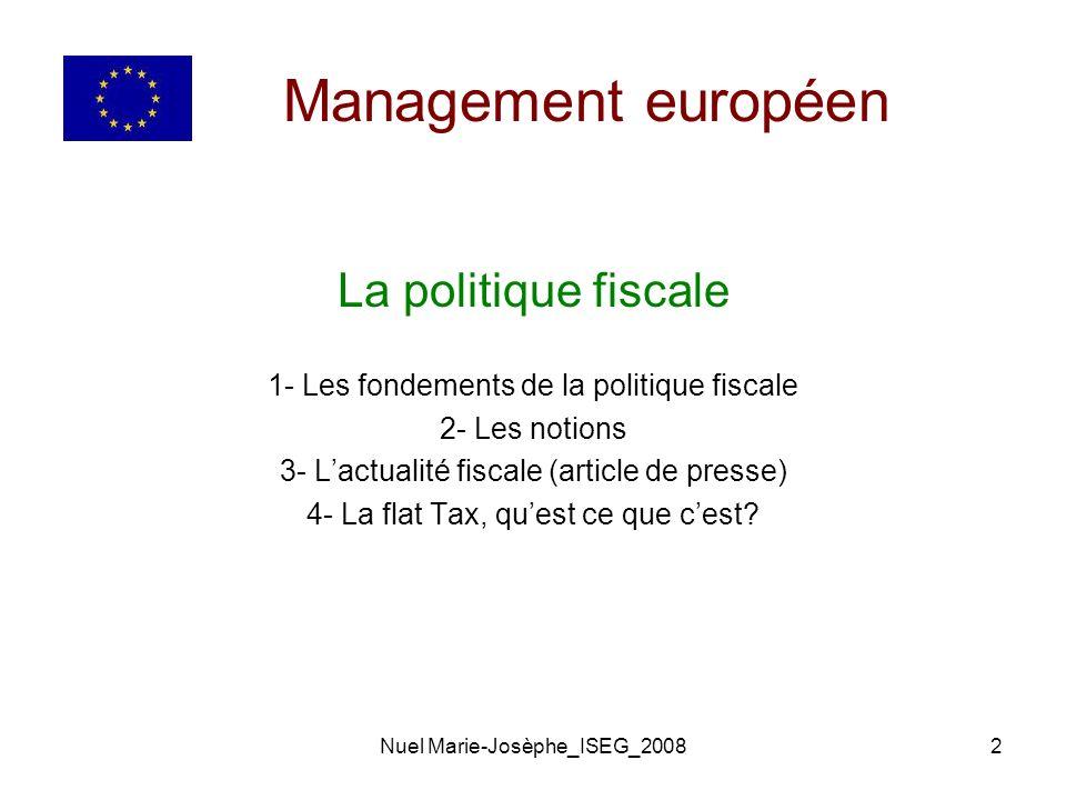 Management européen La politique fiscale