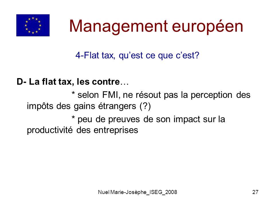 Management européen 4-Flat tax, qu'est ce que c'est