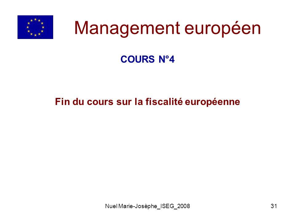 Fin du cours sur la fiscalité européenne