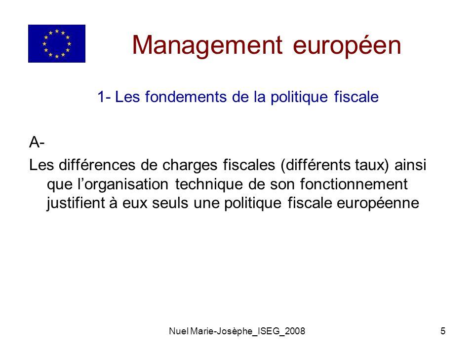 Management européen 1- Les fondements de la politique fiscale A-