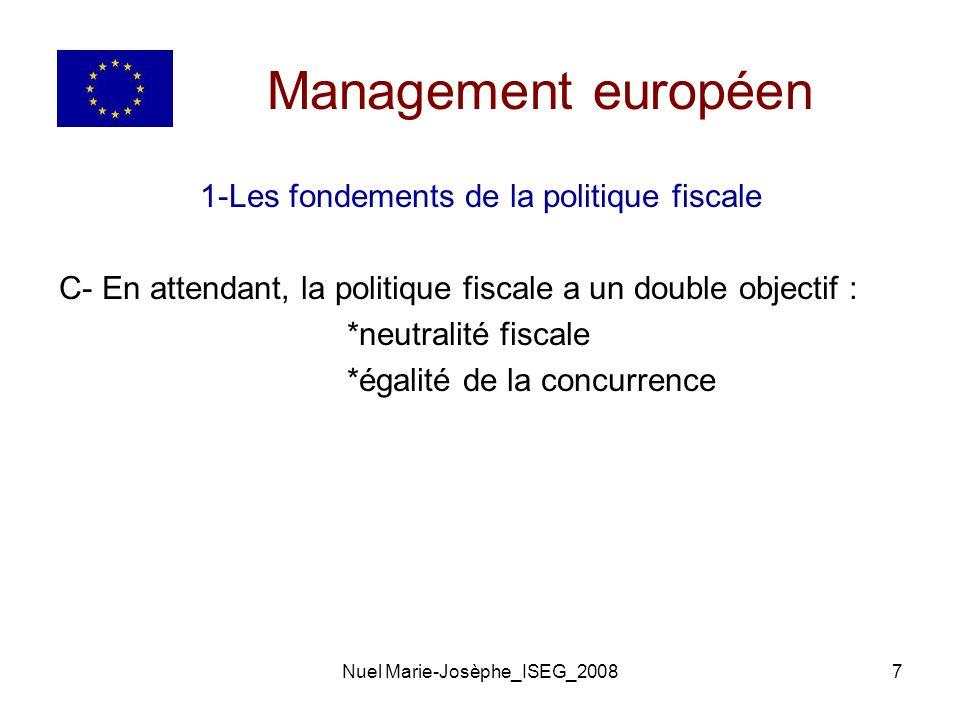 Management européen 1-Les fondements de la politique fiscale