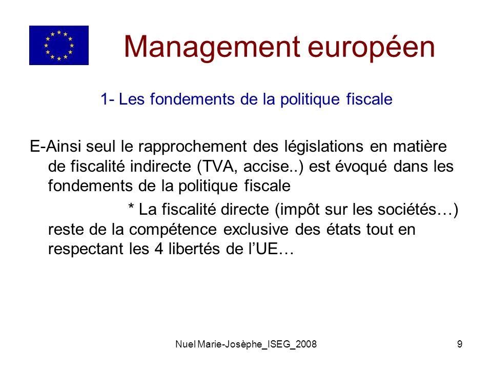 Management européen 1- Les fondements de la politique fiscale