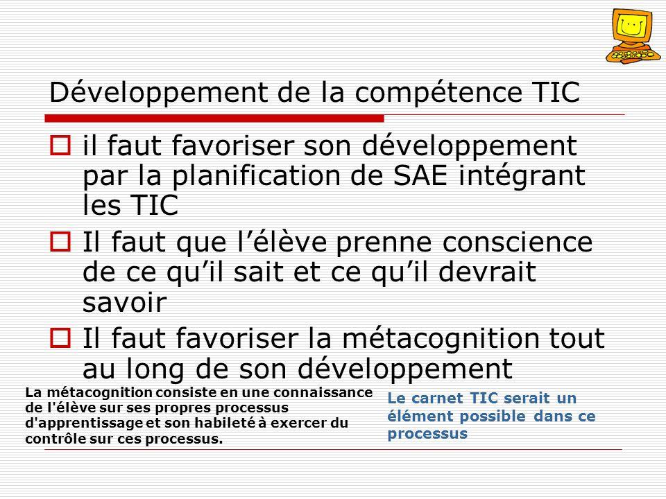 Développement de la compétence TIC