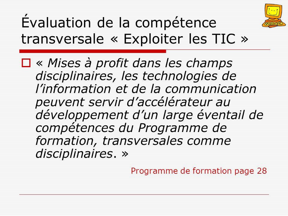 Évaluation de la compétence transversale « Exploiter les TIC »
