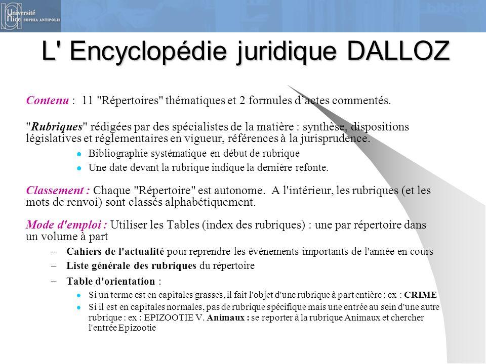 L Encyclopédie juridique DALLOZ