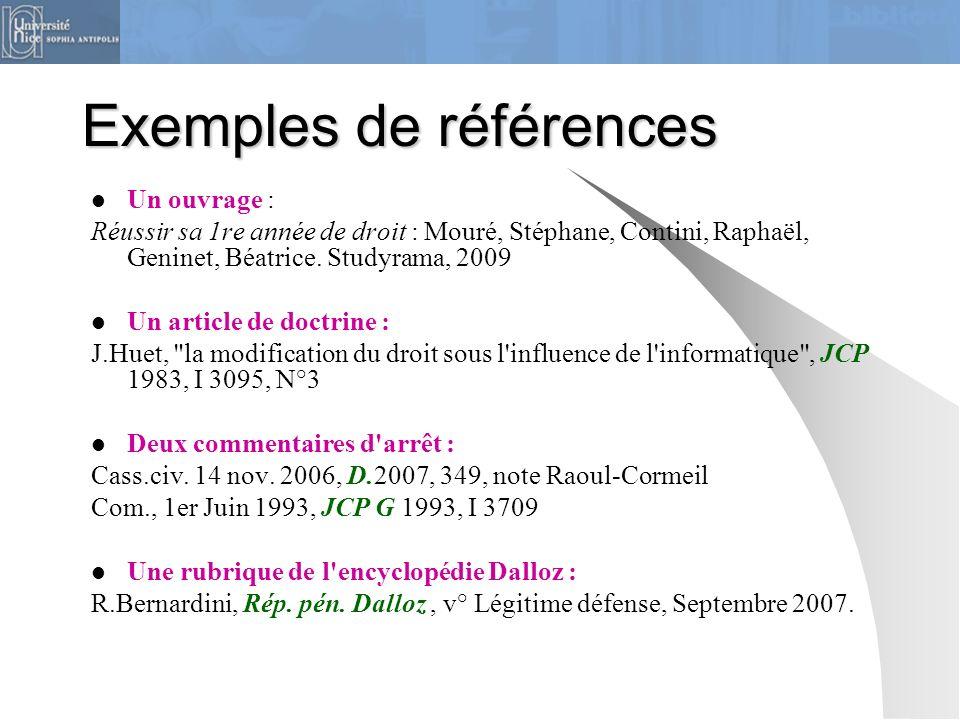 Exemples de références