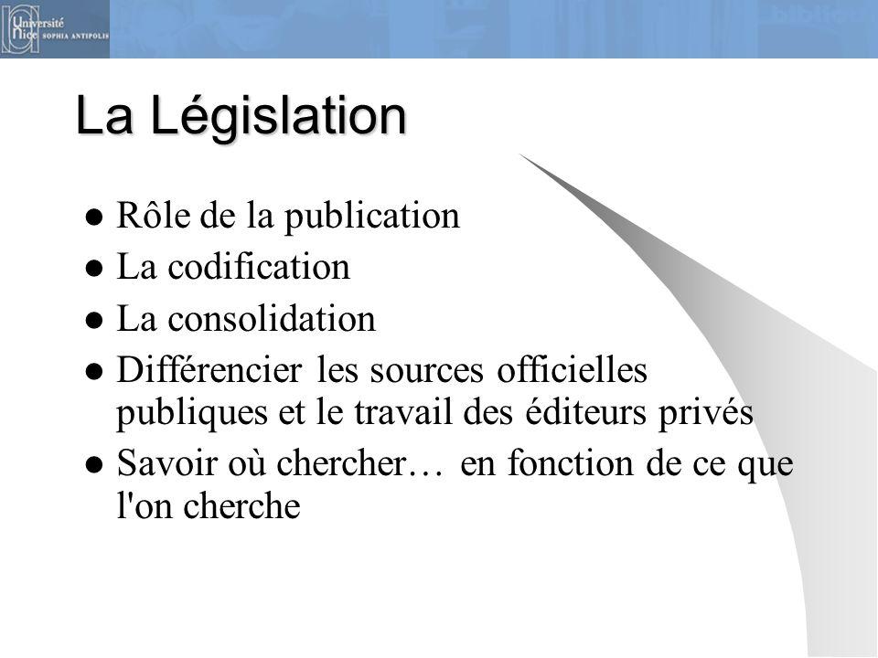 La Législation Rôle de la publication La codification La consolidation