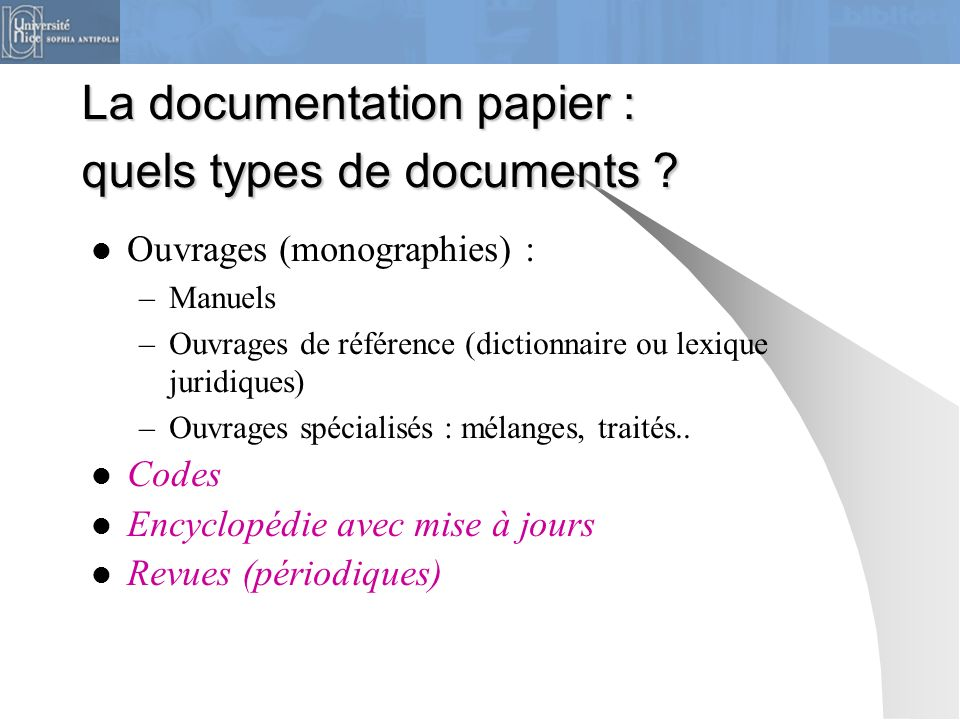 La documentation papier : quels types de documents